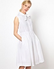 YMC Embroidered Tie Detail Dress