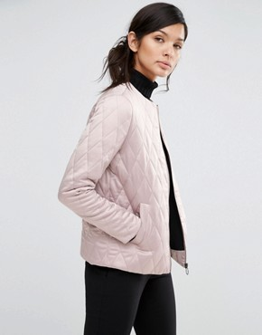 Neon Rose Quilted Collarless Jacket In Luxe Fabric