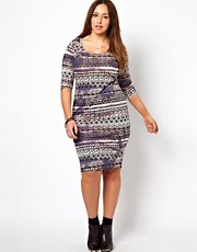 New Look Inspire Tie Dye Aztec 3/4 Sleeve Midi Dress
