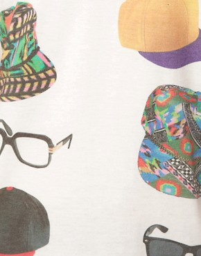 Image 3 ofASOS T-Shirt With Hats And Glasses Print