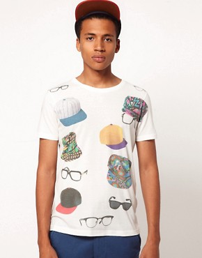 Image 1 ofASOS T-Shirt With Hats And Glasses Print