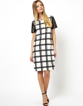 Image 4 of ASOS Checked Shift Dress With Punch Out Leather Look Sleeve
