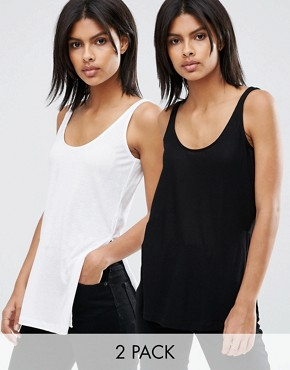 ASOS The Scoop Neck Vest In Slouchy Rib With side Splits 2 Pack Save 10%
