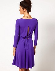 Halston Heritage Flippy Dress With Keyhole Tie Back