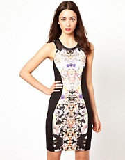 A Wear Floral Panel Bodycon Midi Dress