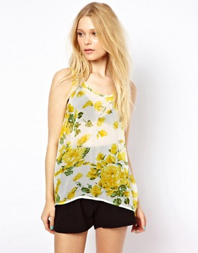 AX Paris Sheer Floral Dipped Hem Top  :  floral chiffon sheer