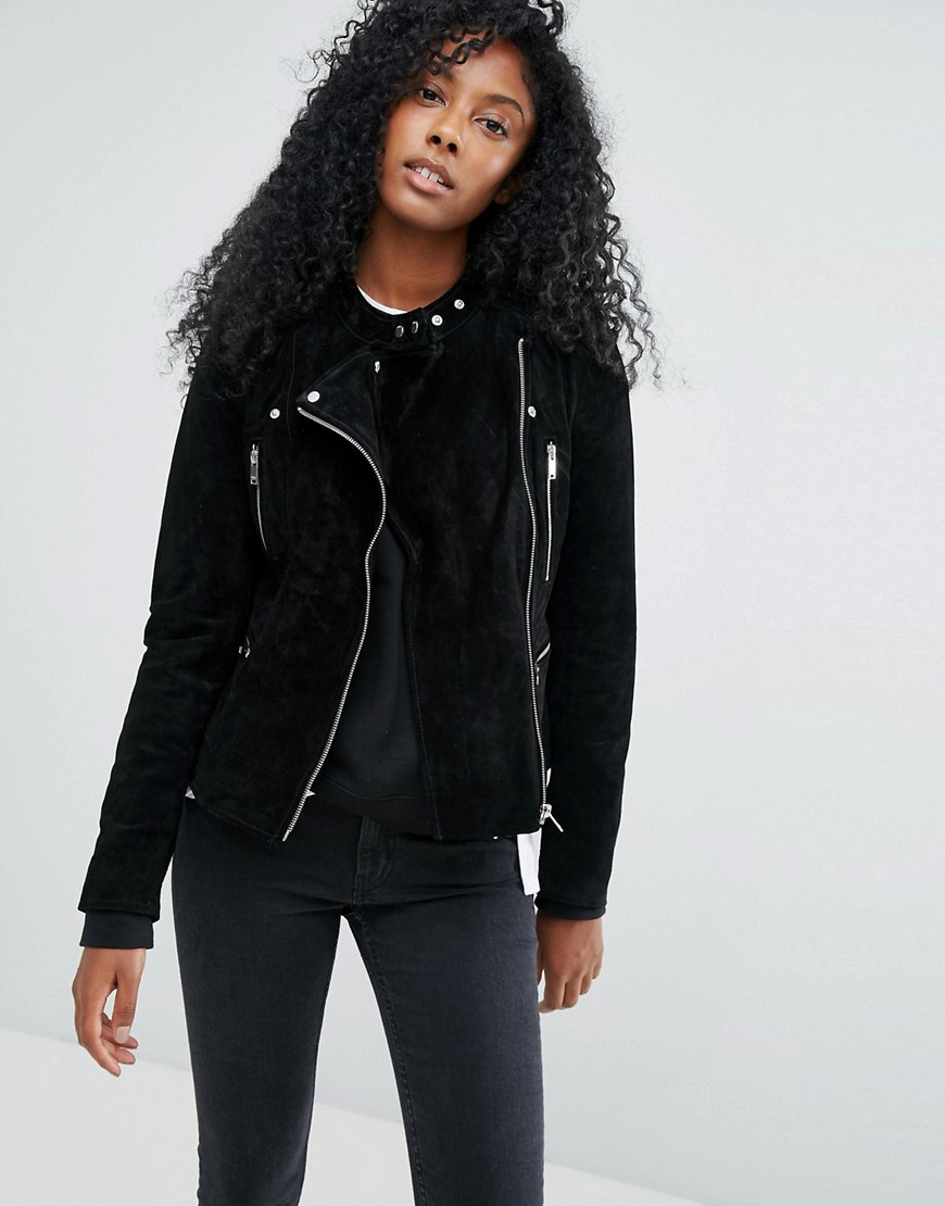 Only Suede Biker Jacket - Black