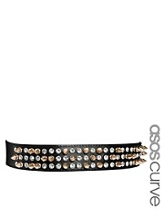 ASOS CURVE Spike &amp; Gem Plate Skinny Waist Belt