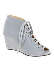 D.Co Copenhagen Berlin Peep Toe Wedge Leather Lace Up Boot
