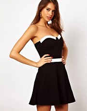 Motel Lucille Skater Dress With PU Trim