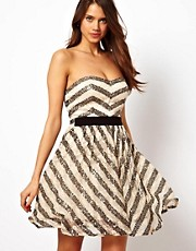 Little Mistress Sequin Lace Stripe Prom Dress