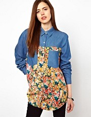 Just Female Floral Denim Shirt