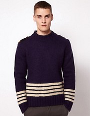 Makia Knitted Jumper Crew Neck Fishermans Stripe
