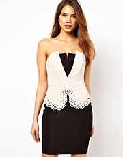 Lipsy Bandeau Dress with Laser Cut Peplum