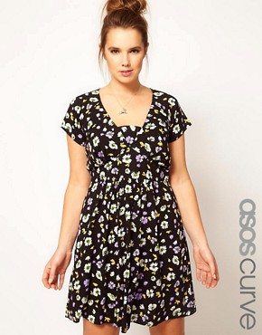 Image 1 ofASOS CURVE Tea Dress In Floral Print