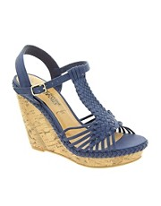 New Look Fudge Crochet Navy Wedge Sandals