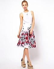 ASOS Midi Skirt in Oriental Print