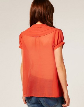 Image 2 ofASOS MATERNITY Triple Collar Waterfall Blouse