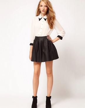 Image 1 ofASOS Skater Skirt in Leather Look