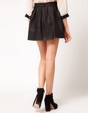 Image 2 ofASOS Skater Skirt in Leather Look