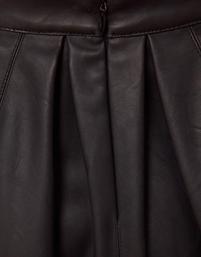 Image 3 ofASOS Skater Skirt in Leather Look