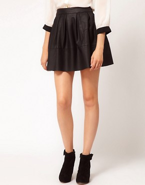 Image 4 ofASOS Skater Skirt in Leather Look