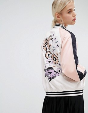 Monki Embroidered Back Bomber Jacket