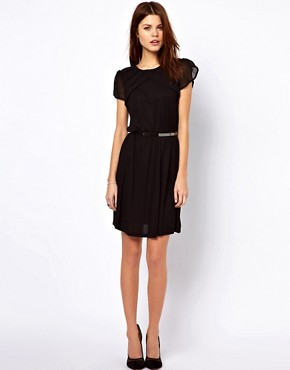 Image 4 ofWarehouse Pleat Yoke Mini Dress