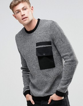 ASOS Crew Jumper with Contrast Woven Pocket