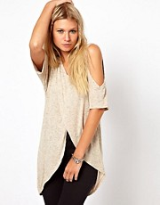 ASOS Top in Linen with a Cross Over Cold Shoulder