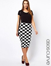 ASOS CURVE Skirt In Checkboard Print