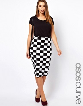 Image 1 ofASOS CURVE Skirt In Checkboard Print