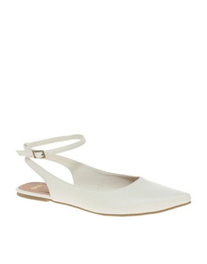 Image 1 of ASOS LANDSCAPE Point Flat Shoes with Cross Strap
