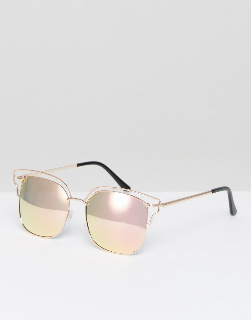 Солнцезащитные очки в прямоугольной металлической оправе с зеркальными от AJ Morgan