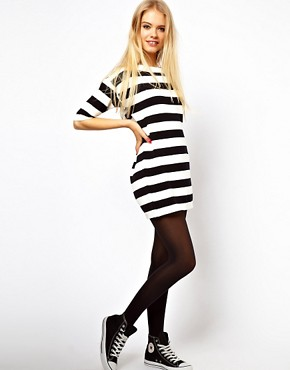Image 4 ofASOS Striped Knit T-Shirt Dress