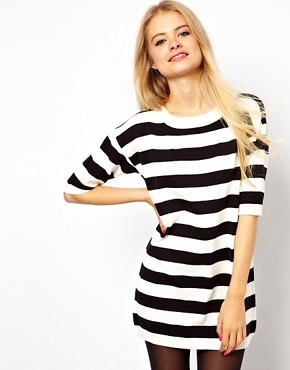 Image 1 ofASOS Striped Knit T-Shirt Dress
