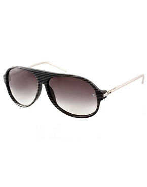Image 1 ofRaf Simons Stripe Aviator Sunglasses