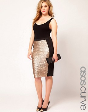 Image 1 ofASOS CURVE Pencil Skirt With Sequin Panel