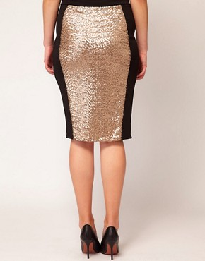 Image 2 ofASOS CURVE Pencil Skirt With Sequin Panel