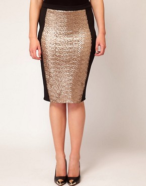 Image 4 ofASOS CURVE Pencil Skirt With Sequin Panel