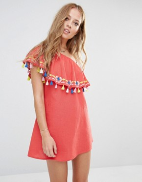 Piper Java One Shoulder Ruffle Dress with Tassels
