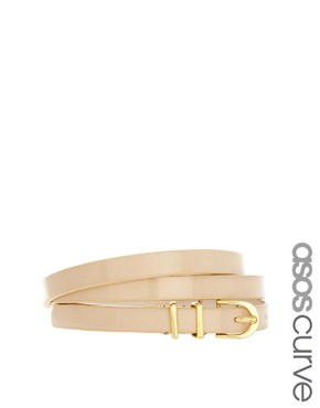 Image 1 ofASOS CURVE Metal Keeper Super Skinny Waist Belt