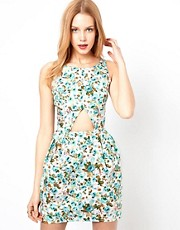Love Printed Tulip Dress With Cut Out Detail