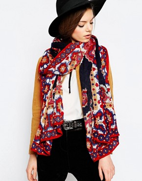 ASOS Oversized Scarf With Paisley And Border Print Design