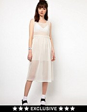 The WhitePepper Chiffon Midi Dress with Sheer Top