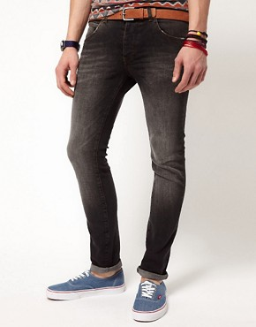 Image 1 ofASOS Skinny Jeans in Washed Black