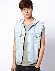 ASOS Sleeveless Denim Jacket With Hood