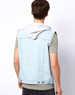 Image 2 ofASOS Sleeveless Denim Jacket With Hood
