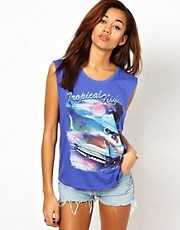 Motel Tank Top In Tropical Nights Print