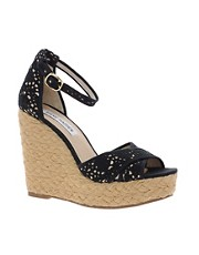 Steve Madden Marrvil Black Platform Wedge Sandals